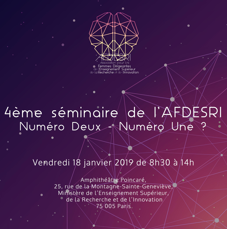 4ème séminaire de l'AFDESRI : Numéro Deux, Numéro Une ? 18 janvier 2019