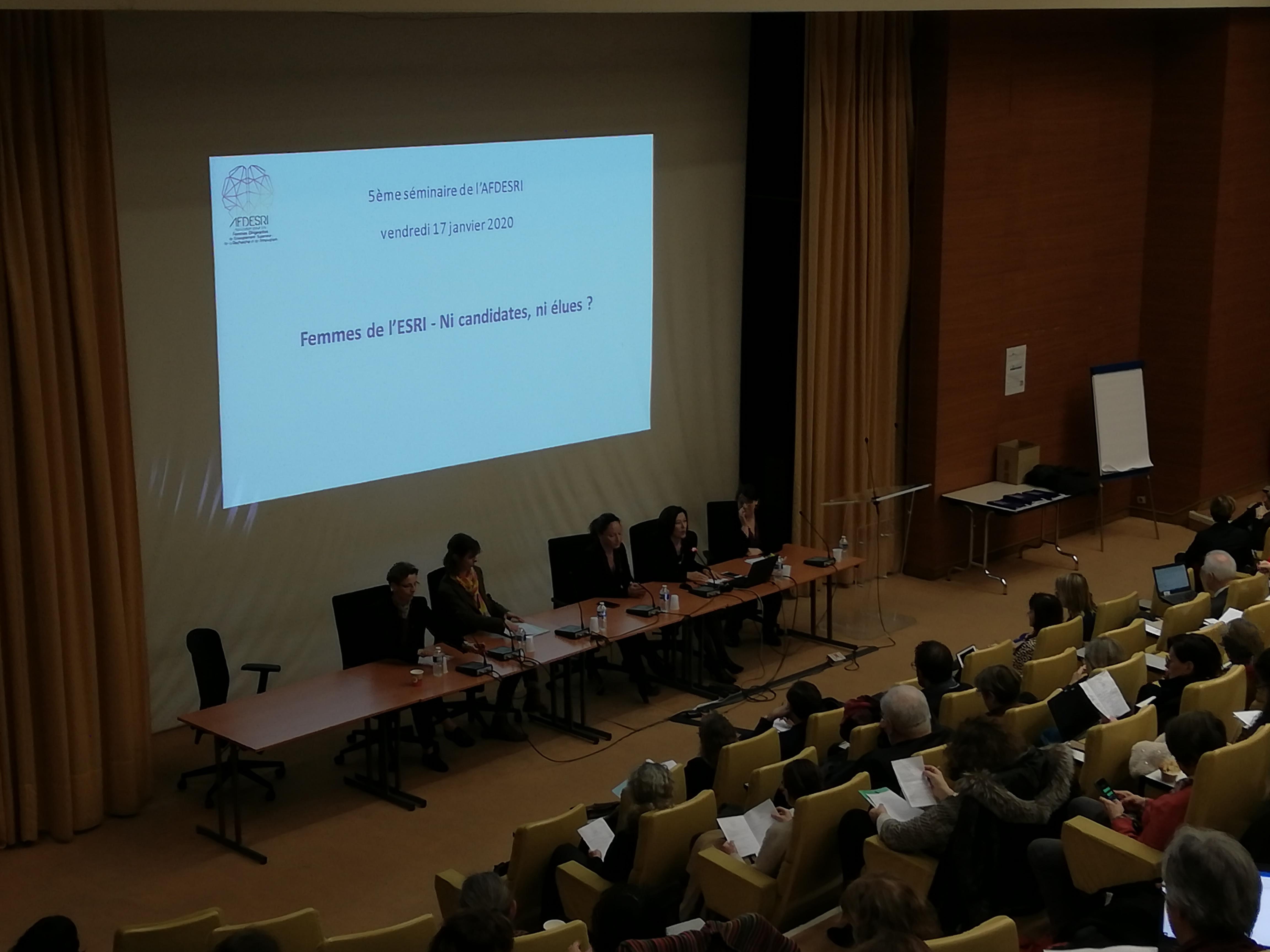 """5ème séminaire de l'AFDESRI. """"Femmes de l'ESRI – Ni candidates, ni élues ? """"- 17 janvier 2020"""