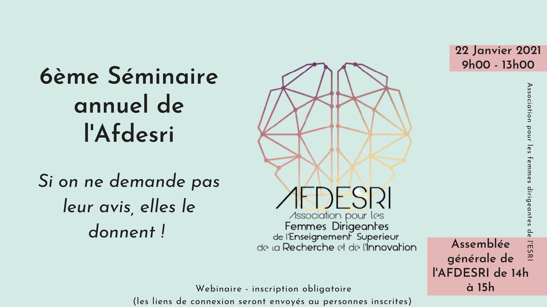 """6 ème séminaire de l'AFDESRI. """"Si on ne demande pas leur avis, elles le donnent !"""" – 22 janvier 2021"""